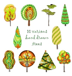 Hand drawn trees isolated sketch doodle style vector image