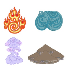 oriental symbols of elements vector image vector image