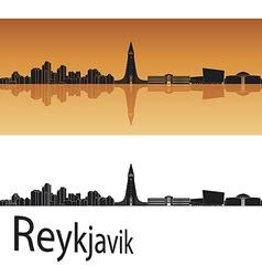 Reykjavik skyline in orange background vector image