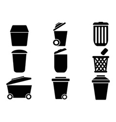 black Trash can icons vector image