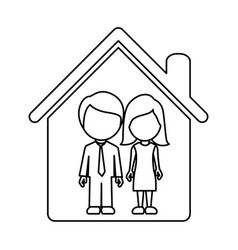couple together inside house vector image