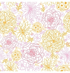 Flowers outlined seamless pattern background vector image vector image