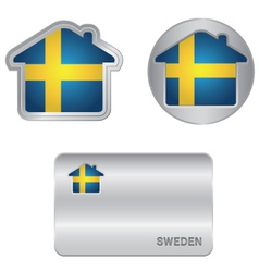 Home icon on the Sweden flag vector image
