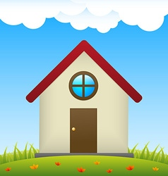 House on meadow with flowers vector image