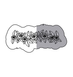 monochrome contour sticker of crown of leaves with vector image