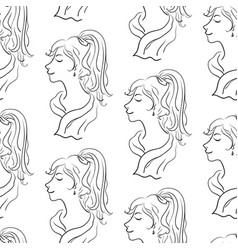 seamless pattern women contours vector image vector image