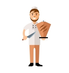 Shawarma Chef Arabic Food Restaurant Flat vector image vector image