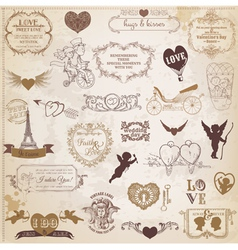 Vintage Love Valentine Day Design Elements vector image vector image