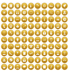 100 church icons set gold vector