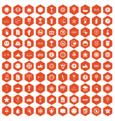 100 symbol icons hexagon orange vector