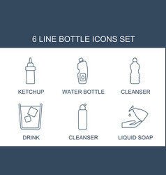 6 bottle icons vector