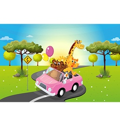 A pink car travelling with animals vector image vector image
