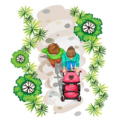 A topview of a family strolling at the park vector