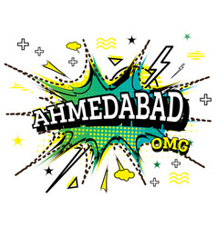 ahmedabad comic text in pop art style isolated on vector image
