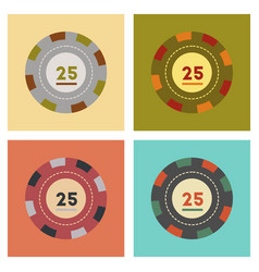 Assembly flat icons poker chips vector