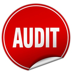 Audit round red sticker isolated on white vector