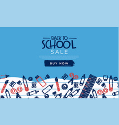 Back to school sale template fun highschool doodle vector