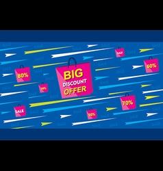 Big discount offer banner using shopping bag poste vector