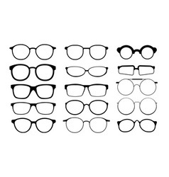 Black glasses rims eyeglasses and sunglasses vector