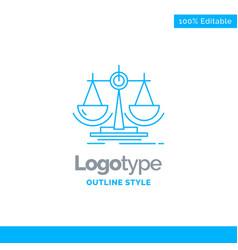 Blue logo design for balance decision justice law vector