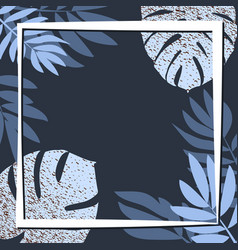 Blue tropical leaves on the dark background vector