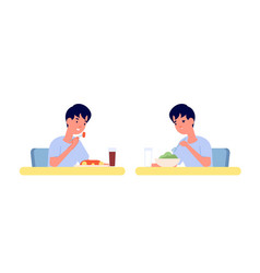 boy eating home breakfast healthy vs unhealthy vector image