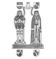 Brass monument is john shelley esq and his wife vector