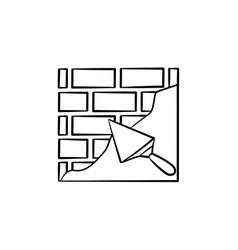 brick solid surface with spatula hand drawn icon vector image
