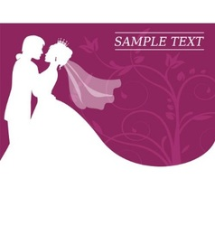 Bride and groom on a burgundy background with swir vector