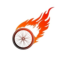 Burning symbol of a bicycle wheel vector