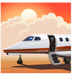 Business jet against sun vector