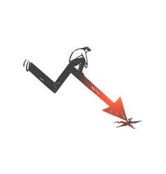 business loss graph arrow decline bankruptcy vector image
