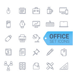 bussines and officeblue line of icons set vector image