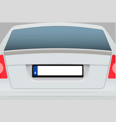 car back view with number plate vector image