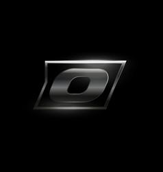 Carbon speed letter o logo dark matte metal vector
