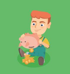 Caucasian boy shaking money out of a piggy bank vector