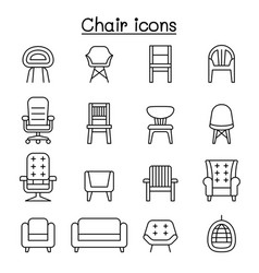 Chair and sofa front view icon set in thin vector