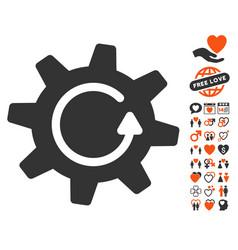 Cogwheel rotation direction icon with lovely bonus vector