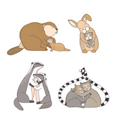 Collection of hugging cartoon animals isolated on vector