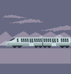 Color poster mountain landscape with modern train vector