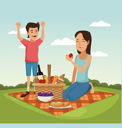 color scene landscape of picnic basket woman with vector image
