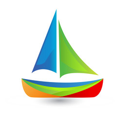 Colorful boat icon vector