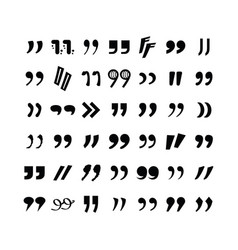 Complete black closing quotation marks icons vector