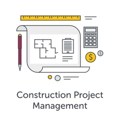 Construction Project Management thin line flat vector image vector image