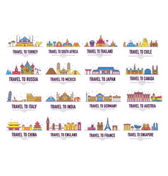 Country thin line icons travel vacation guide vector