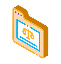 Court folder law and judgement isometric icon vector