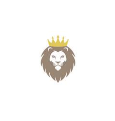 creative chef lion crown logo design symbol vector image