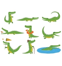 Crocodile character set vector