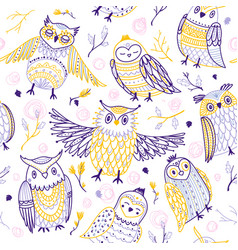 Cute owls seamless pattern in boho style with vector