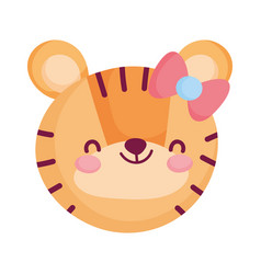 Cute tiger face with bow animal cartoon character vector